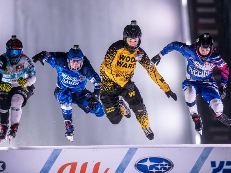Johanny Velasquez of the United States, Leon Stecenko of Russia, Linus Ollikainen of Finland and Egor Tutarikov of Russia compete during the Junior Competition at the ATSX 1000